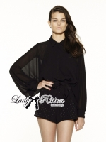 Lady Ribbon Jumpsuit จั๊มสูทขาสั้นทรงเสื้อเชิ้ตปักหมุด