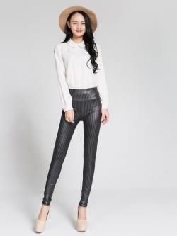กางเกงขายาว Stripe leather Print