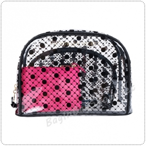 &#x2764️ VS Signature Trio Bag Clear Fishnet Dot