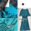 Lady Ribbon เดรสยาวผ้าชีฟองสีเขียวหัวเป็ด กระโปรงพลีท thumbnail 8