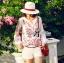 Lady Ribbon Top เสื้อแขนยาวสีขาวปักลายธรรมชาติ สีแดง thumbnail 3