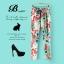 กางเกงขายาวผ้าชีฟอง พิมพ์ลายดอกไม้ เอวยางยืด thumbnail 1