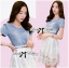 Lady Ribbon Twist Denim and Lace Dress with Belt thumbnail 5