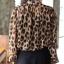 เสื้อผ้าไหมชีฟอง พิมพ์ลายเสือดาว Leopard กระดุมหน้า ไม่มีซับใน สีน้ำตาล thumbnail 7
