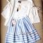 Lady Ribbon ชุดเซ็ทเสื้อกระโปรงสีฟ้าสลับขาว แขนเสื้อแหวก ผูกโบว์ thumbnail 10