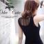 Korean Spot Sexy Nightclub Dress เดรสแขนกุดผ้าตาข่ายสีดำ thumbnail 6