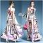 Lady Ribbon Orchid Printed Satin Long Dress with Daisy Belt thumbnail 2