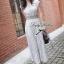 Lady Ribbon แมกซี่ชีฟอง ดีเทลกระโปรงพลีต เอว elastic สีเทา thumbnail 5