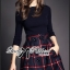 Lady Ribbon Knit Top and Checked Cotton Skirt Dress thumbnail 1