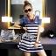 Lady Ribbon Casual Style Cut-Out Denim Striped Dress thumbnail 1