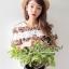Seoul Secret ชุดเซ็ท เสื้อและกระโปรงผ้่าลูกไม้ลายดอกไม้ สีขาว สีดำ thumbnail 4