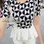 Lady Ribbon Black&White Set ชุดเซ็ทเสื้อกางเกง พิมพ์ลายกราฟฟิค thumbnail 8