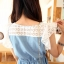 Cherry KOKO เดรสผ้าฝ้ายสีฟ้า ตัดต่อผ้าฉลุลายดอก thumbnail 6