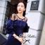 Lady Ribbon มินิเดรสสีน้ำเงิน ดีเทลช่วงอก แต่งลูกไม้ซีทรูสีดำ thumbnail 3