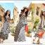 Lady Ribbon B&W Stripe Maxi Korea แม็กซี่ลายขวาง สุด Chic thumbnail 1