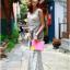 Lady Ribbon Striped Maxi Dress เดรสยาวแขนกุด ลายทางทรงบอดี้คอน thumbnail 7