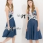 Lady Ribbon Graphic Print Crop Top and Denim Midi Skirt Set thumbnail 3