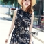 Lady Ribbon Monochrome Floral Printed Mini Dress thumbnail 1