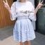 Lady Ribbon ชุดเซ็ทเสื้อกระโปรงสีฟ้าสลับขาว แขนเสื้อแหวก ผูกโบว์ thumbnail 4