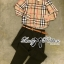 Lady Ribbon Burberry Style Plaid Shirt and Black Pants thumbnail 12