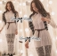 Lady Ribbon เสื้อเชิ้ตแขนยาว สีขาว ต่อผ้าลูกไม้ซีทรูเป็นกระโปรงยาว thumbnail 1