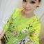 Lady Ribbon Eastern Blossom Print Dress in Green thumbnail 4