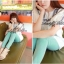 Lady Ribbon เสื้อตัวยาวปักครอสติส แขนตุ๊กตา สีขาว สีกรมท่า thumbnail 4