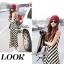 Lady Ribbon B&W Stripe Maxi Korea แม็กซี่ลายขวาง สุด Chic thumbnail 7