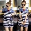 Lady Ribbon Casual Style Cut-Out Denim Striped Dress thumbnail 2