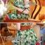 Lady Ribbon มินิเดรสพิมพ์ลายใบคริสต์มาส สีสดใส thumbnail 12