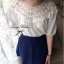 Lady Ribbon เสื้อผ้าคอตตอน สีชมพู ขาว กรมท่า ปักลายดอกไม้ thumbnail 8