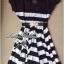 Lady Ribbon Stripe Mini Dress มินิเดรสลายขวางครีม-ดำ thumbnail 9