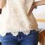 Ice Vanilla Gold Lace Blouse เสื้อลูกไม้ แต่งลายปักดิ้นทองและมุก thumbnail 7