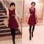 Two Tone Dress มินิเดรสแขนสองส่วน พร้อมเข็มขัด สีแดง สีดำ thumbnail 3