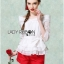 Lady Ribbon Chiffon Blouse and Red Hot Pants Set thumbnail 3