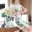 Lady Ribbon Dress เดรสแขนสั้น แต่งลายพิมพ์ดอกไม้สีเขียว thumbnail 1