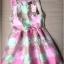 Lady Ribbon Graphic Style Dress เดรสลายดอก สีชมพูและเขียวอ่อน thumbnail 8