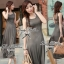Lady Ribbon Maxi Dress เดรสยาวแขนกุด เปิดหลัง สีเทา สีดำ thumbnail 9