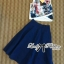 Lady Ribbon Graphic Print Crop Top and Denim Midi Skirt Set thumbnail 5