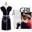B&W Classic Style เดรสขาวดำ แขนล้ำ แต่งดีเทลคอเสื้อ thumbnail 4