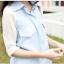 เสื้อเชิ้ตผ้าฝ้ายสีฟ้า ตัดต่อผ้าชีฟองที่แขน พับแขนได้ thumbnail 5