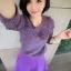 Lovely Purple Set ชุดเสื้อไหมพรม พร้อมกระโปรงสั้น ผ้ากำมะหยี่ สีม่วง thumbnail 3