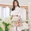Seoul Secret เดรสเชิ้ตผ้าคอตตอน พร้อมเข็มขัดหนังถักสีน้ำตาล thumbnail 2