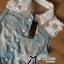 Lady Ribbon Flower Embellished Denim Shirt Dress with Belt thumbnail 7