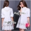 Lady Ribbon Insert Lace Pleated Embroidered Shirt Dress thumbnail 2