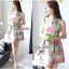 Lady Ribbon Graphic Style Dress เดรสลายดอก สีชมพูและเขียวอ่อน thumbnail 5