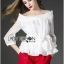 Lady Ribbon Chiffon Blouse and Red Hot Pants Set thumbnail 1