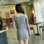 UrbanStyle Dress by DNA เดรสเข้ารูป ผ้าไหมพรมสีเทา เปิดเว้าช่วงไหล่ thumbnail 3