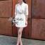 Lady Ribbon ชุดเดรสสม็อคเอว ขาว/ดำ ขายพร้อมเข็มขัด thumbnail 1