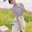 Lady Ribbon ชุดเซ็ทเสื้อสไตล์กะลาสี มินิเดรสกระโปรงพลีท สีครีม thumbnail 1